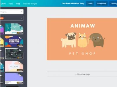 Crie um cartão de visita para pet shop com o Canva